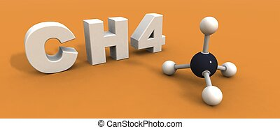 methane molecule - a 3d render of a molecule methane