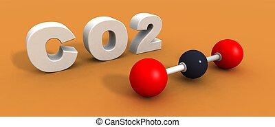 Carbon dioxide molecule - a 3d render of a carbon dioxide...