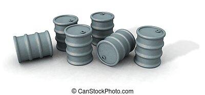 oil barrels - a 3d render of some oil barrels over a white...