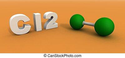 chlorine molecule - a 3d render of a chlorine molecule