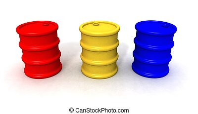 colored barrels - a 3d render of red,yellow and blue barrels