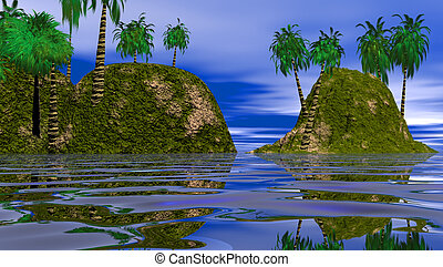 TWO ISLANDS IN THE LAGOON - THIS IS AN IMAGE OF TWO...