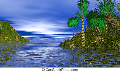 DISTANT ISLANDS - THIS IS AN IMAGE OF A TREE LINED ISLAND IN...