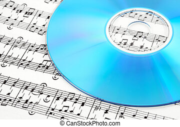 Blue CD on sheet music - Blue CD or DVD on sheet music...