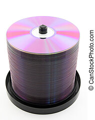 Purple CDs on spindle