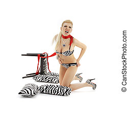 zebra scream - screaming blond in zebra lingerie over white