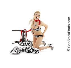 zebra scream - screaming blond in zebra lingerie over white