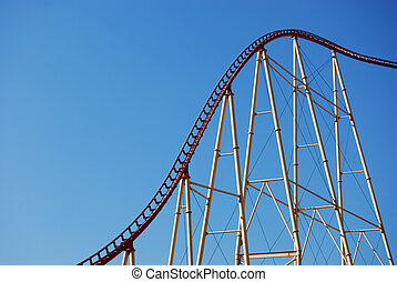 Rollercoaster - roller coaster against blue sky-great...