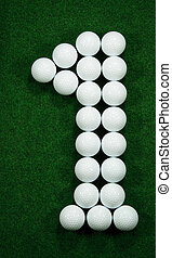 Golfballs as number one - Golfballs showing the goal in...