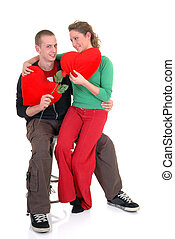 Valentine love, young adults - Two casual dressed young...