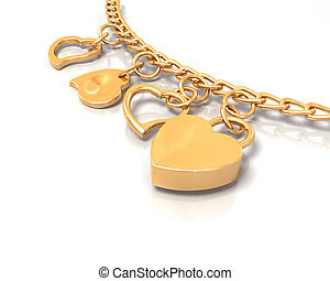 Heart bracelet - 3D render of a gold heart bracelet