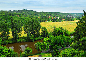 Dordogne river in France - Scenic view on Dordogne river and...