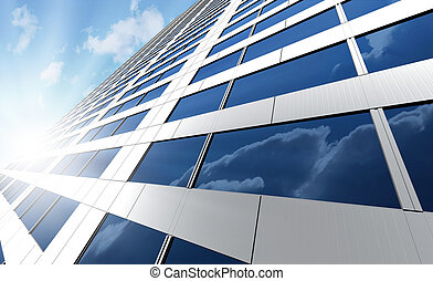 Skyscraper - Office building on a background of the blue sky