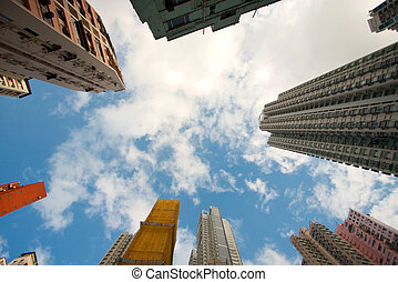 Hong Kong skyscape - Hong Kong skyscrape of residential area...