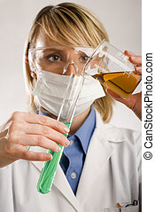 beaker - young women working in medicine close up shoot
