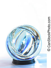 Crystal ball blue lights within - Crystal ball blue light...