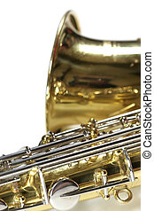 Saxophone - Bright brass saxophone music instrument isolated...