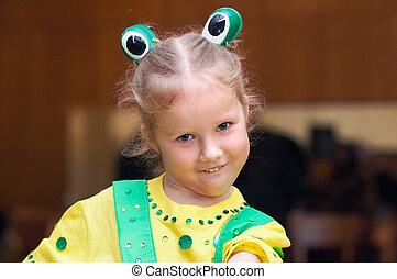 Girl in carnival costume - Small girl in holiday carnival...