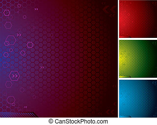 tech hex - Illustrated abstract technical background with...