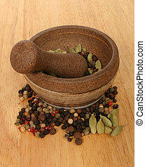 Pestle and mortar with ingredients