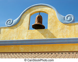 Mexican bell - Mexican decorated bell of top of shingled...
