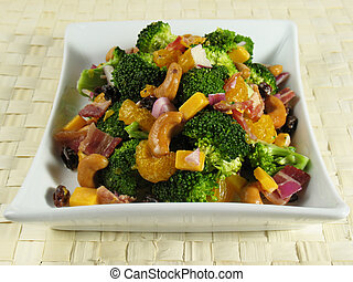 Broccoli Salad Plate - Broccoli salad with bacon, raisins,...