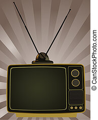 Retro TV - Graphic Drawing of a solid state retro black and...