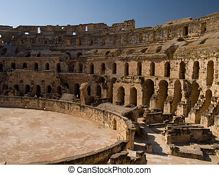 Roman Colosseum - Interior of the ancient Roman colosseum in...