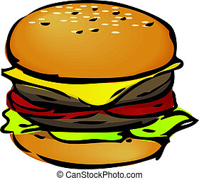 Hamburger illustration - Hamburger with cheese tomatoes and...