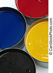 Tubs of printing inks - Tubs of process printing press inks,...