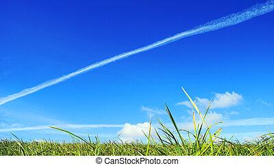 White track. - Celestial landscape. A reactive vapour trail...