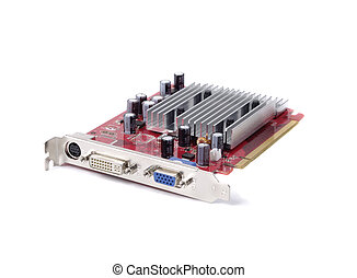 Modern Video Card - Video adapter isolated over white...