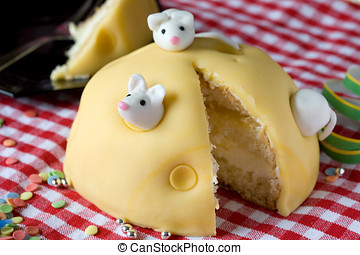 Delicious small cake - Small cake decorated as a cheese with...