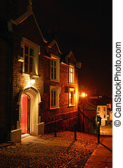 House at Night - Victorian house at the top of a cobbled...