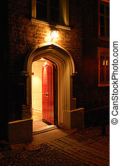 Red Door - Old fashioned wooden door open and inviting from...