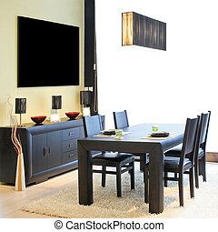 Dinning light - Modern dinning room with black table and...