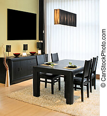Dinning space - Modern dinning room with black table and...