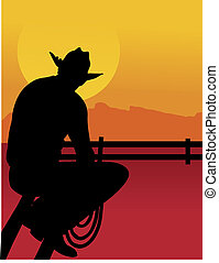 Outback Cowboy - Black silhouette of a cowboy sitting on a...