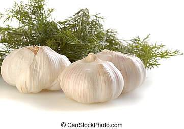 garlic with dill isolated on white