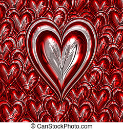 metallic love heart