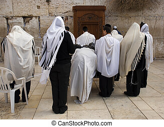 Western wall - The prays in western wall in Jerusalem