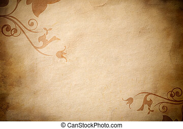 grunge paper with foliage - special toned background with...