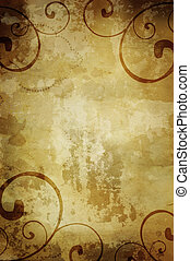warm vintage background with foliage - great old grunge...