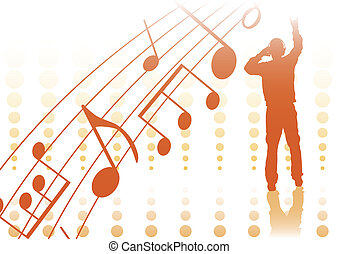 pop-music - orange sihouette of young man and abstract music...