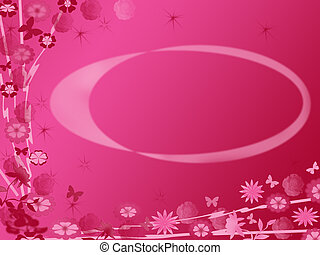 Red background - Red - pink flower pattern on...