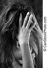 Headache - The young the woman suffers a headache