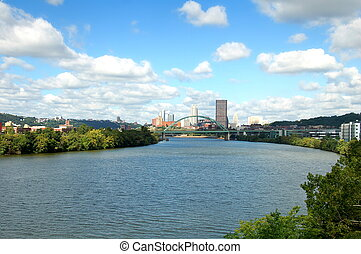 Pittsburgh - A view from the Hot Metal Bridge walkway of the...