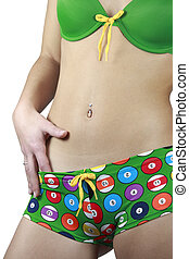 Girl and navel piercing - A girl in colorful lingerie with a...