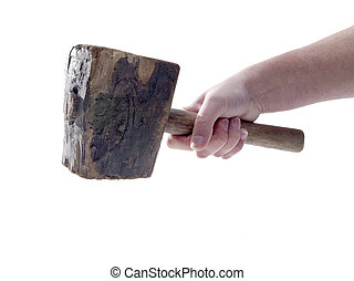 Old Wood Hammer Isolated - A close up on an old wood hammer...