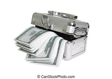 Metallic casket with fake money isolated